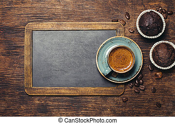 Coffee cup - Rustic background with vintage blackboard and...