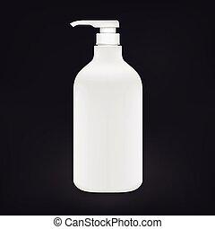 blank shampoo bottle isolated on black background