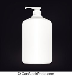 blank shampoo bottle isolated on black background