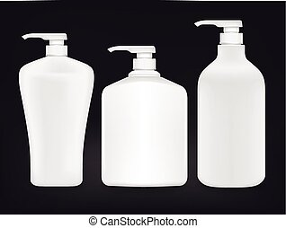 blank shampoo bottle set isolated on black background