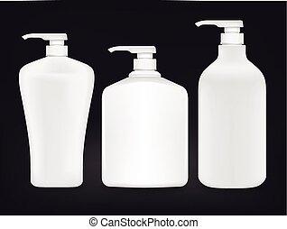blank shampoo bottle set isolated on black background
