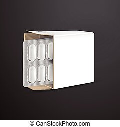 pills with white package paper box isolated on black...