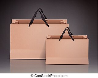 kraft paper bags set isolated on black background