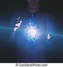 Man with eye design between his hands