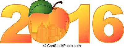 2016 Atlanta Georgia with Peach Color Illustration