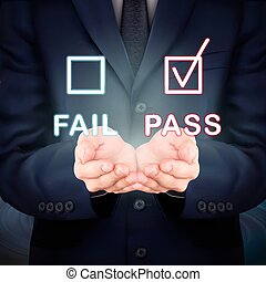 evaluation checkbox - close-up look at businessman holding...