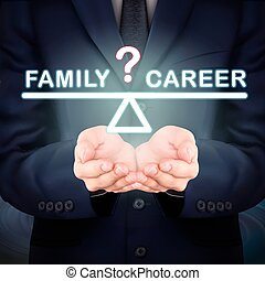family and career seesaw - close-up look at businessman...
