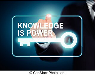 male hand pressing knowledge is power key button