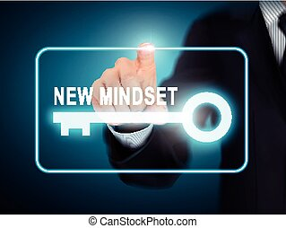 male hand pressing new mindset key button
