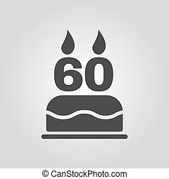 The birthday cake with candles in the form of number 60...