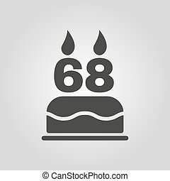 The birthday cake with candles in the form of number 68 icon...