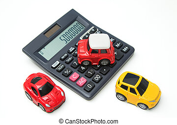 Toy car and calculator Concept for finance and insurance