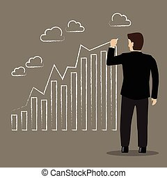 Businessman drawing positive trend graph. Business Concept