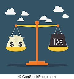 Money and Tax balance on the scale