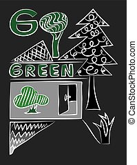 Go Green, art vector design