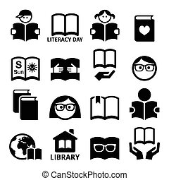 Children and adults reading books, - Vector icons set of...