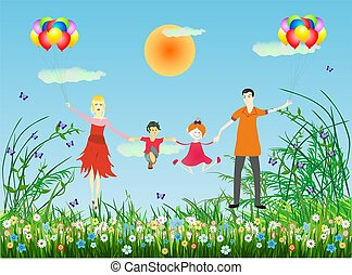 Happy family - composition of the family who is flying...