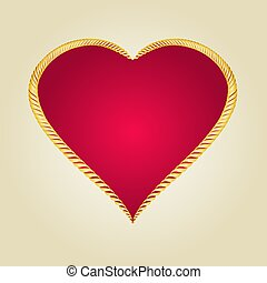 Gold frame in the shape of heart Vector.eps