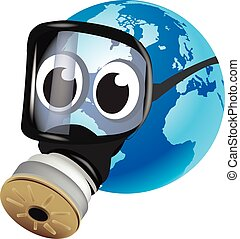Earth with gas mask