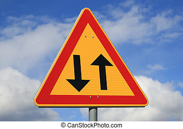 Sign Two Way Traffic Ahead - Sign two way traffic against...