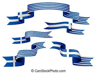 Flag Banner - Set of Greek insignia in different shape of...