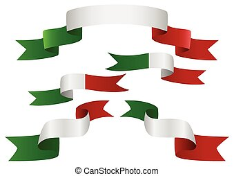Flag Banner - Set of Italy insignia in different shape of...