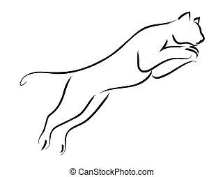 Puma - Simple line art of a jumping puma