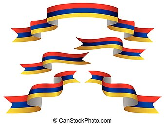 Flag Banner - Set of Armenia insignia in different shape of...