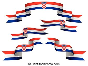 Flag Banner - Set of Croatia insignia in different shape of...