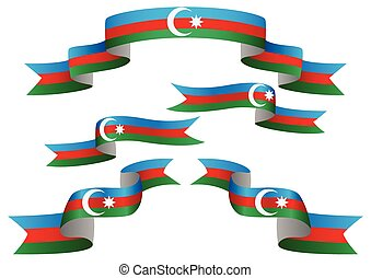Flag Banner - Set of Azerbaijan insignia in different shape...