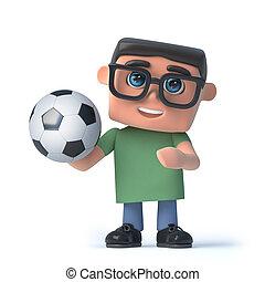 3D, niño, Llevando, anteojos, tenencia, Un, futbol,...