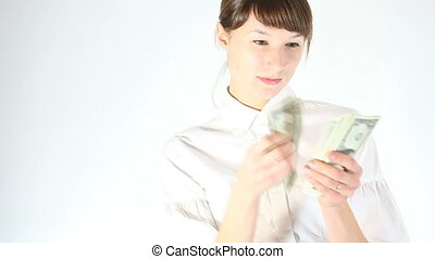 woman counting money and holding at the camera