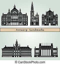 Antwerp Landmarks - Antwerp landmarks and monuments isolated...