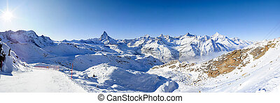 Panorama from gornergrat in winter - Parnorama at...