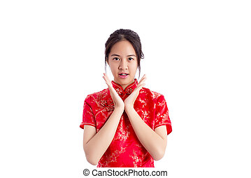 Chinese woman red dress traditional cheongsam ,close up...