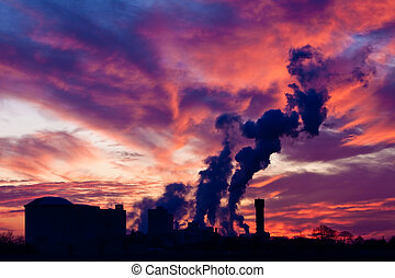 Industrial factory  at sunset
