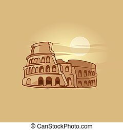 Colosseum - hand drawn vector illustration of Colosseum