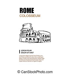 Colosseum - Hand drawn vector illustration of Colosseum with...