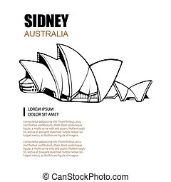 architecture monuments - Hand drawn picture of Sydney Opera...