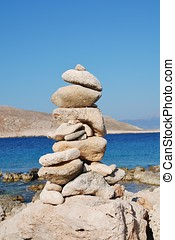Stone tower, Halki island - A pile of stones on Ftenagia...