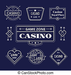 Casino logo icons set Poker, cards or game and money symbol...