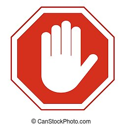 stop hand sign - STOP Red octagonal stop hand sign for...