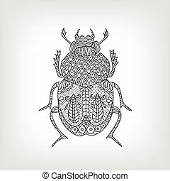 The scarab beetle on a light background Vector illustration...