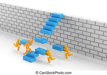 Teamwork to overcome obstacle