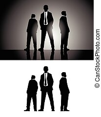 Three businessmen silhouettes - Vector illustration of a...