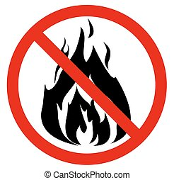 No fire. Vector illustration - Red No fire sign. Vector...