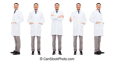 happy doctors with stethoscope showing thumbs up - medicine,...