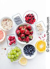 fim, cima, de, frutas, e, Bagas, em, tigela, ligado, tabela,...
