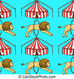 Sketch circus in vintage style, vector seamless pattern