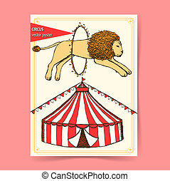 Sketch circus poster in vintage style, vector
